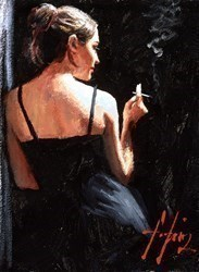 A Sensual Touch in the Dark (With Cigarette) by Fabian Perez -  sized 9x12 inches. Available from Whitewall Galleries